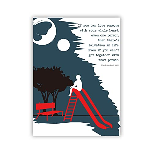 IFUNEW Lona Pared Arte Haruki Murakami Amantes de los Libros Fans Cartel literario Arte de Pared para Libros de Navidad Impresiones decoración de la habitación del hogar 60x90cm