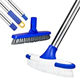 ITTAR Scrub Brush with Long Handle, Stiff Bristles Grout Brush, Extendable Cleaning Brush Set for Floor,Tile, Deck,Patio,Garage,Kitchen,Bathroom,Tub(2 Pack Brush Head)