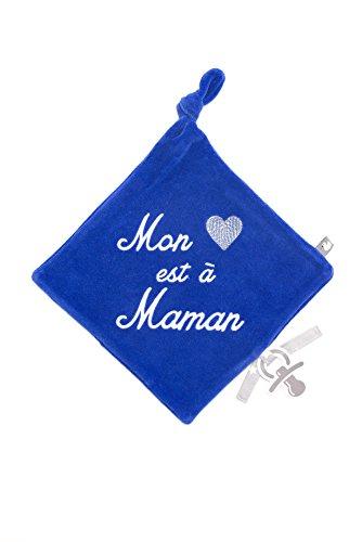 Bb&Co Mon Cœur est à Maman Doudou en Velours Brodé