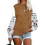 Women's Pullover Top Autumn Winter Round Neck Long Sleeve Printed Sweatshirt Tunics Khaki