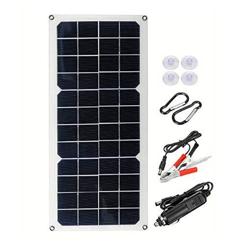Cuasting Cargador de batería portátil de 12 V 30 W con panel solar para coche, furgoneta, barco, caravana