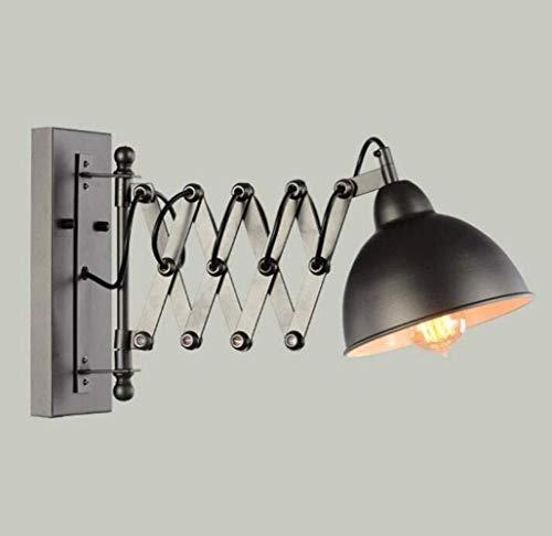 The only Good Quality Decoration industriële vintage wandlamp uittrekbare wandlamp verstelbare flexibele arm zwart metaal wandlamp, zwart, A Villa