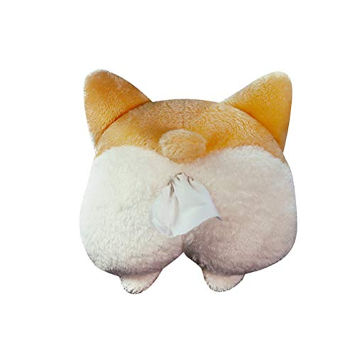 VOSAREA Tissue Box Cover Soft Adorable Corgi Butt Shaped Creative Storage Bag Hanging Pouch Tissue Box Wrapper for Car Home