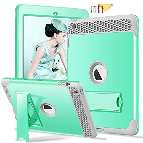 Funda para iPad 4 3 2, Cookk [Honey Comb Series] [Apto para niños] Soporte magnético Resistente 3 en 1 a Prueba de Golpes híbrida Funda Protectora para iPad 4 3ª 2ª generación #01_Green
