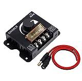 Regulador de intensidad LED, regulador de luz, regulador de intensidad PWM, brillo ajustable, tira de luces LED de un solo color 12 V 24 V 30 A, con un juego de 25 cm DC5.5 2,5 mm cable