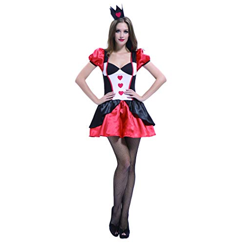 Women's Wonderland Queen of Hearts Costume-Halloween Christmas Party Cosplay Dress with Hat (L)