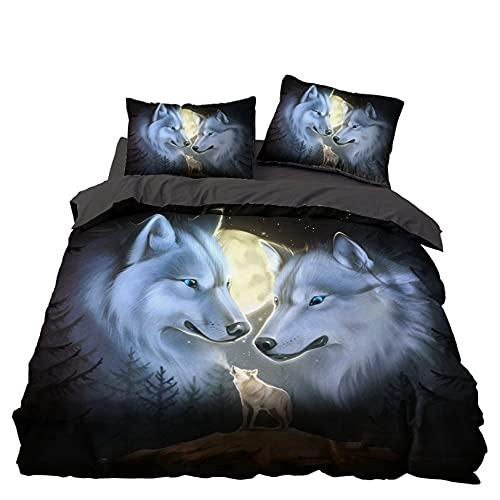 Bolat Bettwäsche Wolf für Kinder Jugendliche, 3D Tierdruck, Bettbezug für Einzelbett, Doppelbett, King Size (D,135 x 200 cm)