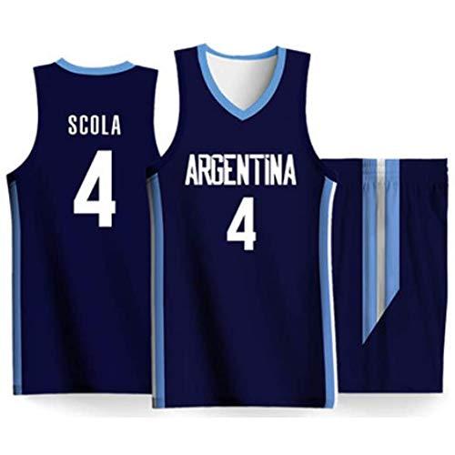 Copa Mundial de Baloncesto Argentina Equipo Competición # 4 Luis Scola Jersey Ropa de Baloncesto para Hombres Chaleco sin Mangas Uniforme, Blanco/Azul-Blue-XL