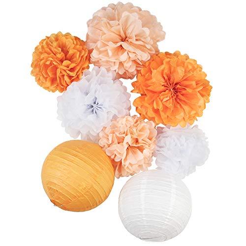 SUNBEAUTY Orange Papier Deko Set 8er Set Peach Pom Poms Lampion Dekoration