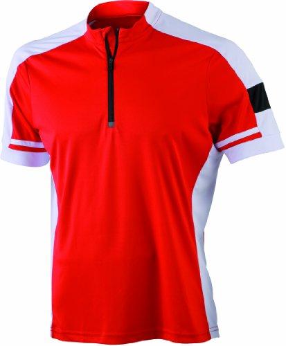 James & Nicholson Herren Sport Top Radtrikots Bike-T-Half Zip rot (red) Large