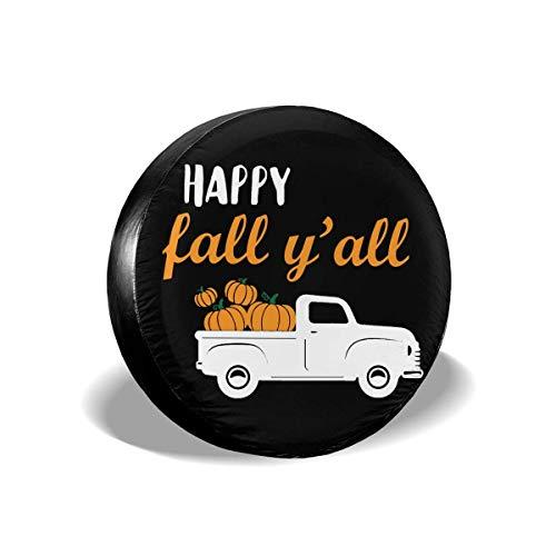 Ahdyr Happy Fall Y 'All Pumpkin Truck Cubierta de llanta de refacción Impermeable a Prueba de Polvo Cubierta de llanta de refacción Universal Apto para Muchos vehículos 14' 15 '16' 17 '