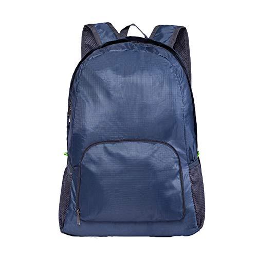 KTENME Rucksack einfacher Nylon Mesh faltbar Praktische Schulranzen Wandertaschen für Outdoor Reisen Blau dunkelblau 42 * 3 * 16CM
