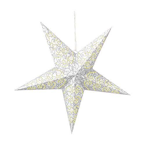 com-four luminous star in 3D with LED lighting in warm white for hanging, and stable paper star in white (01x star - white)
