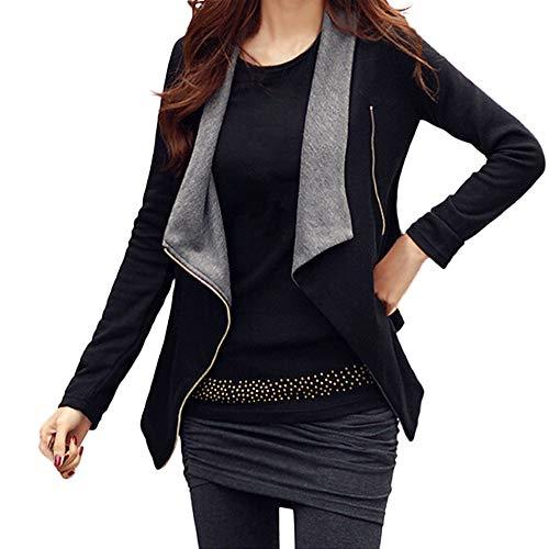 Sumeiwilly Damen Kurzmantel Offene Jacke Damen Faux Wildleder Warme Jacke Zipper Up Vorne Mantel Outing Soft Outwear mit Taschen