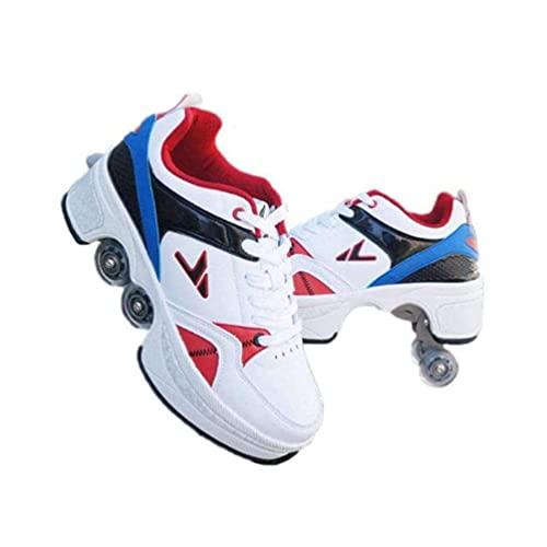Patines de Ruedas para Mujer, Patines de Quad para Niños, Zapatos con Ruedas para niñas, Zapatos Unisex con Ruedas, Calzado de Skate Técnico Deportivo Outdoor (Color : White, Size : 32EU)