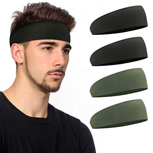 Mens Headband 4 Pack Sweatbands Elastic Sports Headband for Running Cycling Workout Basketball Comfortable Breathable Head Bands for Unisex 2 Black 2 Army Green 4 Pack