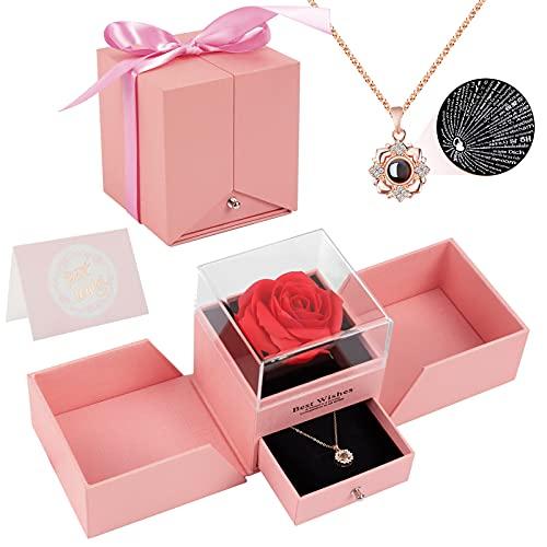 Joyhoop Rose Eternelle, Rose Rouge Artificielle Carte De Vœux Boîte Cadeau, Idee Cadeau Anniversaire Saint Valentin Mariage Fete des Meres pour Femme Maman, Anniversaire Cadeaux Romantiques Original