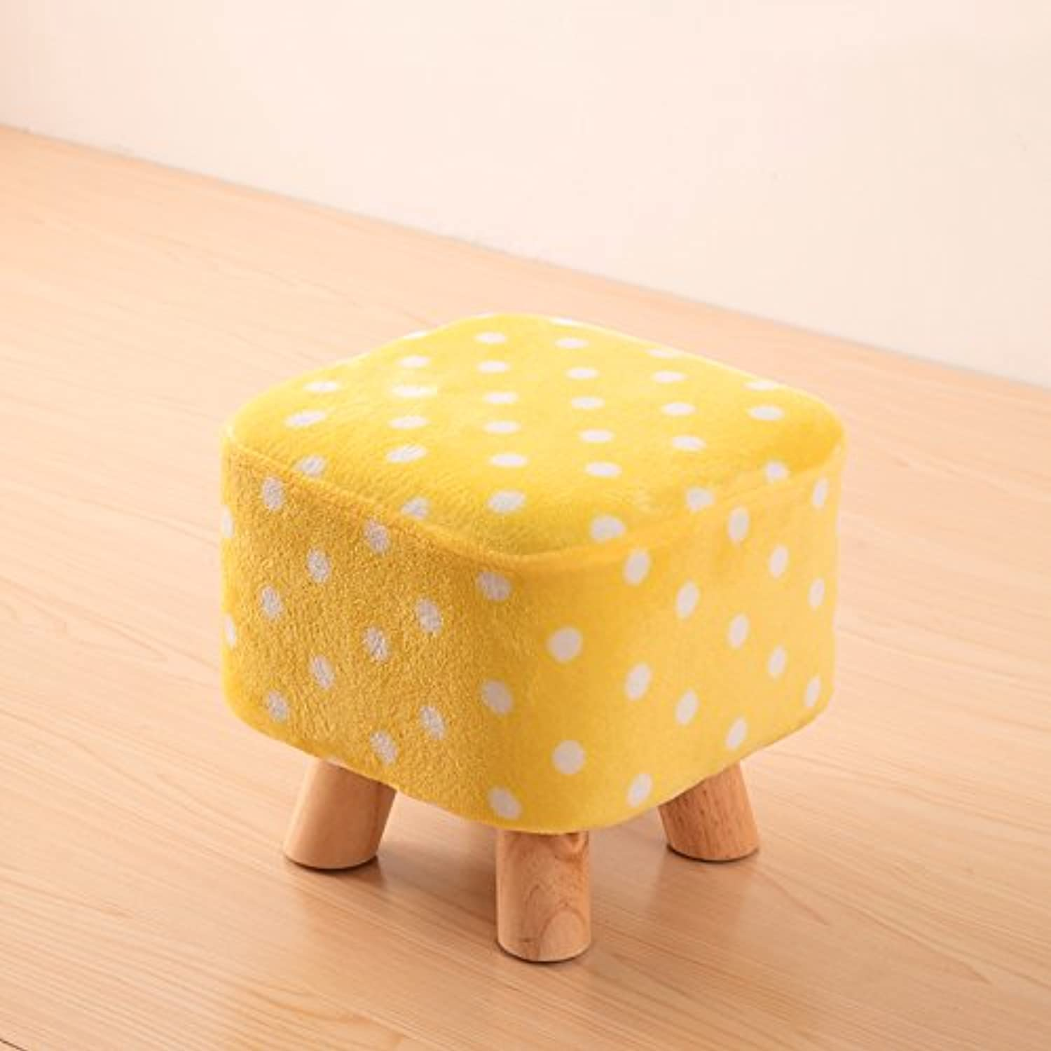 Dana Carrie Solid Wood on a Low stool for shoes is Fashionable to wear shoes That Creative Party Chair Fabrics stool Sofa Chair Coffee Table Bench Home, Yellow White Point