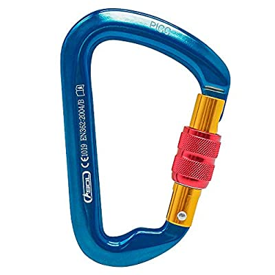 SUNKY - Aluminum Locking Carabiner, Screw Lock Climbing D Shape Spring Clip Hook Buckle for Home RV Camping Fishing Hiking Traveling