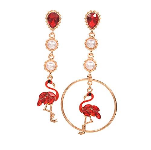 N\A Pendientes de imitación Perlas para Mujer Pendientes Colgantes,Colgante de Flamenco Pendientes Colgantes para niña,Regalos de joyería,Damas cuelgan Pendientes de Gota,Pendientes Perforados