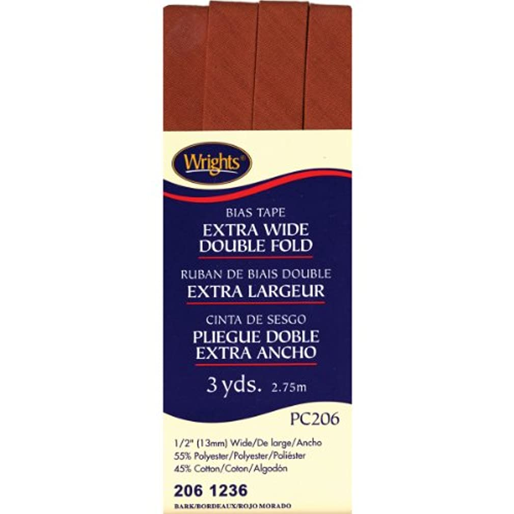 Wrights 117-206-1236 Extra Wide Double Fold Bias Tape, Bark, 3-Yard