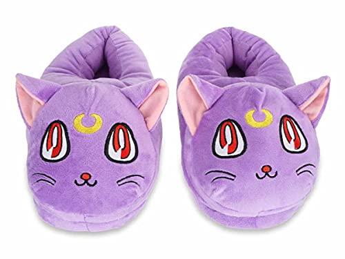 CoolChange Kuschelige Luna Hausschuhe mit Katzengesicht für Sailor Moon Fans | Lila