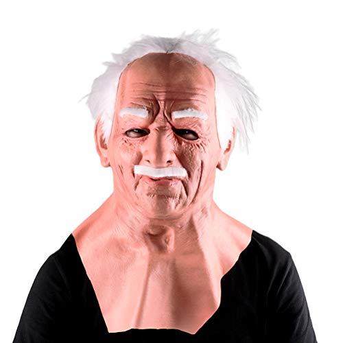 BSTiltion Realistische Old Man Maske, Old Man Latex Gesichtsmaske, Halloween Maske Faltengesichtsmaske Latex Vollkopf- und Halsmaske für Erwachsene Maskerade Halloween Headgear Prop