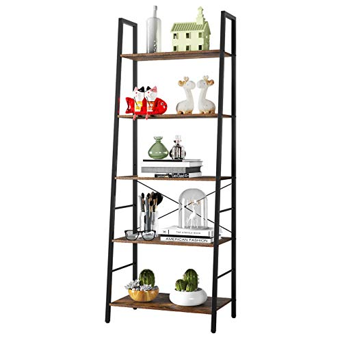 Gadroad Ladder Bookshelf, Industrial 5-Tier Bookcase,Free Standing Ladder Shelf, Utility Organizer Shelves for Plant Flower,Wood Look Accent Furniture with Metal Frame for Home Office,Rustic Brown
