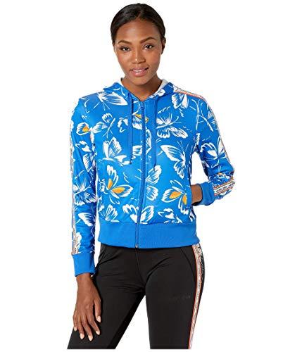 adidas Camiseta de manga corta con capucha y estampado de granja para mujer, Mujer, Manga corta, F193CSIW770, Azul/Dorado activo, S