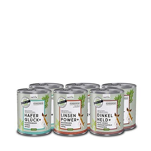 naftie veganes Hundefutter Mixpaket | Bio Nassfutter vegan für Hunde | Menü Spar-Paket mit 3 Sorten | rein pflanzliche Zutaten | purinarm | Diät-Futter nass | 6 x 800 g Dosen