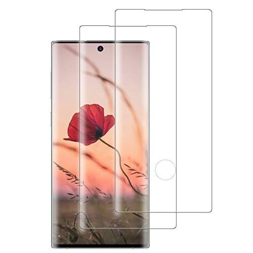 XSWO 2 Unidades Cristal Templado para Galaxy Note 10 Plus, Protector de Pantalla para Samsung Galaxy Note 10 Plus, [3D Cobertura Completa] [9H Dureza] [Sin Burbujas] [Fácil Instalar] Vidrio Templado