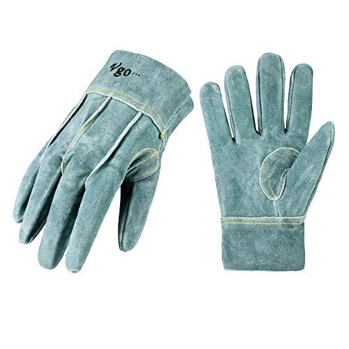 Vgo 3双入 牛床革手袋 作業用皮手袋 外? オイル加工 (Size LL,White,CB9961O-AB)