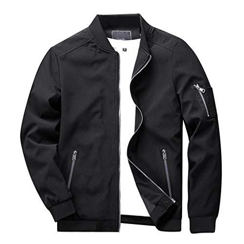KEFITEVD メンズ ボンバージャケット 大きいサイズ ミリタリージャケット ライダース 作業服 ジップアップ ジャンバー スリム 黒 上着 サッカー ブラック L