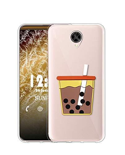 Sunrive Kompatibel mit Meizu Pro 6 Plus Hülle Silikon, Ständer Fingerhalter Fingerhalterung Handyhülle Transparent Schutzhülle Etui Hülle (Perlkaffee) MEHRWEG