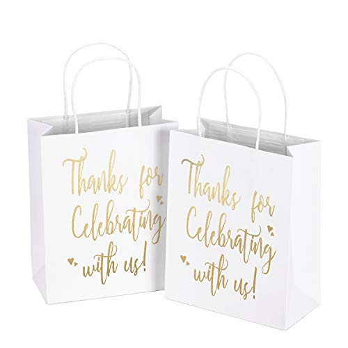 LaRibbons Medium Size Gift Bags - Gold Foil'Thanks for celebrating with us' White Paper Bags with Handles for Wedding, Birthday, Baby Shower, Party Favors - 12 Pack - 8' x 4' x 10'