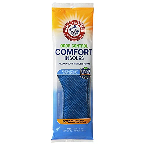Arm & Hammer Odor Control Comfort Insoles  Pair of Pillow Soft Memory Foam Insoles for Men & Women (1 Pack)