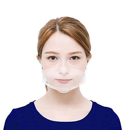10 x Visiera Protettiva Trasparente Per Adulti Naso e Bocca Schermi di protezione da Schizzi in Plastica Lavabile e Riutilizzabile