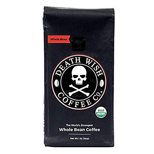 Death Wish Organic USDA Certified Whole Bean Coffee, 16 Ounce Bag