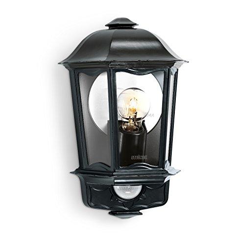 Steinel L 190 S Lanterne noire – Luminaire extérieur à détecteur de mouvement, portée max. 12 m, applique en aluminium