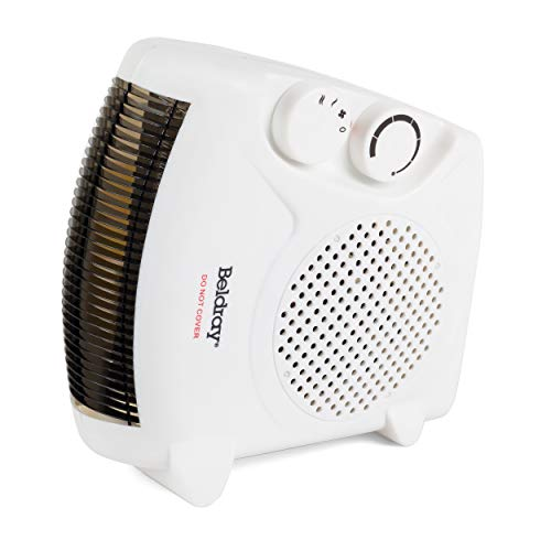 Beldray EH0569WK EH0569SSTK Upright/Flatbed Portable Fan Heater with Cool Air Function | 2 Heat Settings | 1000/2000 W | Adjustable Thermostat | Safety Cut Out | White, Plastic, 2000 W