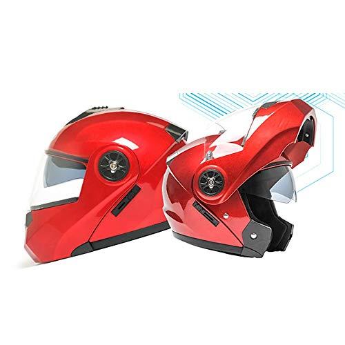 Stella Fella Casco de doble espejo para hombre, casco de cuatro estaciones universal, casco de motocicleta eléctrico, cubierta completa con Bluetooth, color negro mate (color: rojo, tamaño: M)