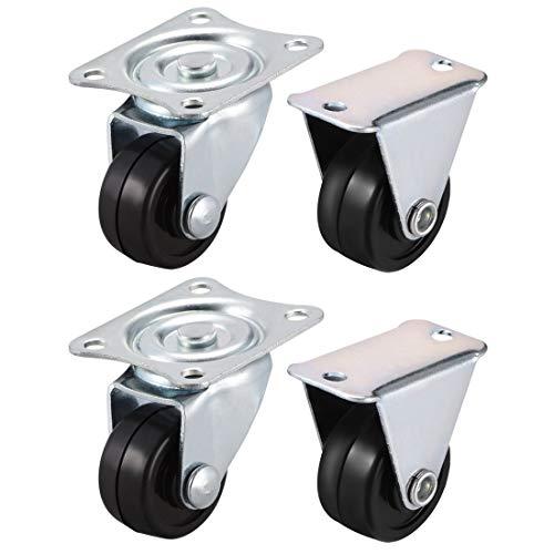 YeVhear - Ruedas giratorias de goma de 1 pulgada para montar en placa superior, 4 piezas (2 piezas giratorias, 2 piezas fijas)