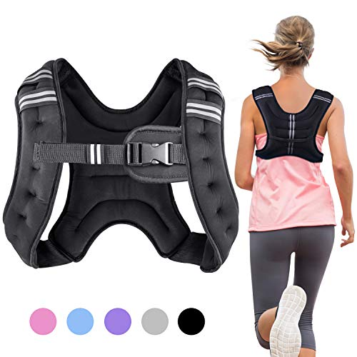 Henkelion Weighted Vest Weight Vest for Men Women Kids Weights Included, Body Weight Vests Adjustable for Running, Training Workout, Jogging, Walking - Black - 8 Lbs