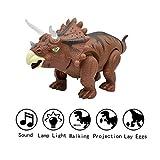 Yeelan Para Caminar Dinosaurio Laico Huevos Eléctrico Caminar Dino Crudo Huevo Juguete con lámpara de proyección, luz LED y Sonido para niños en Edad Escolar Niños Niño pequeño (Triceratops Dragon)