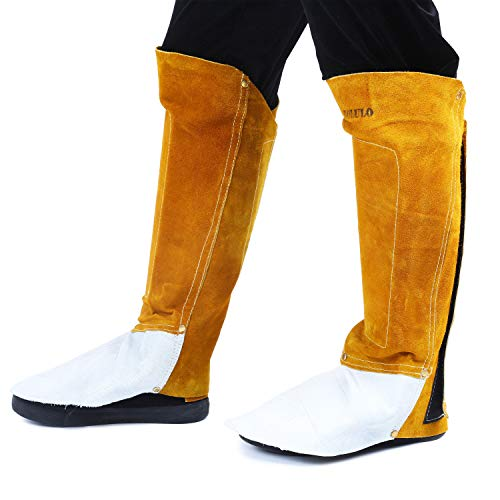 Mufly Leather Welding Spats Cover Protective Shoes Feet with Aluminum Wear Resistant,High Temperature Welding Fireproof Shoe/Boot Protectors