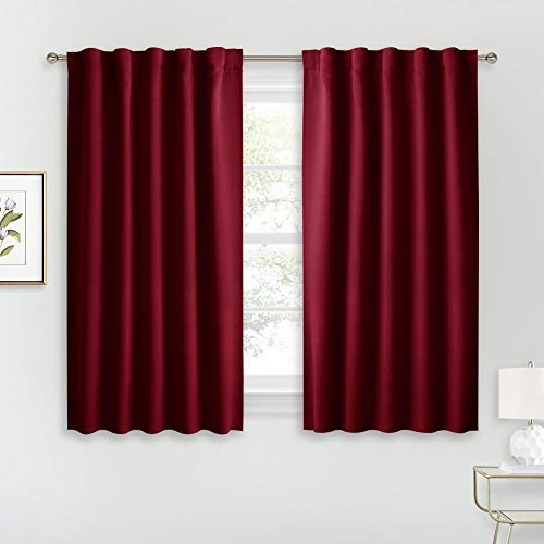 RYB HOME Window Curtains Blackout - Thermal Insulated Bedroom Curtain Drapes, Room Darkening Curtains for Bathroom Nursery Short Curtains, Wide 42 by Long 45, Burgundy Red, 2 Pcs