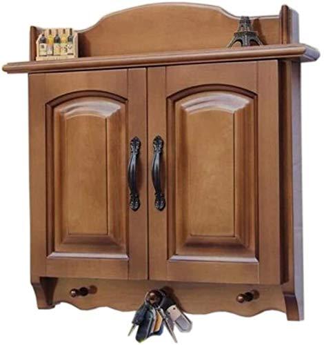 Rack de enrutador Estantes 3-gancho de madera rústico, montaje en pared, perchero de organizador de teclas, caja de administración de cable grande, for soluciones de caja de tiras eléctricas, 2 colore