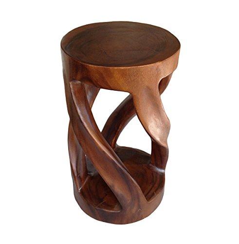 Asiatische Oriental Vine Twist 50,8cm Holz Hocker ~ rund TOP Beistelltisch ~ Ende Tisch von COLLUMINO Karamellfarben / Braun