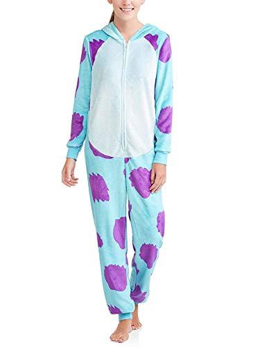 Disney Women's Faux Fur Licensed Sleepwear Adult Costume Union Suit Pajama (XS-3XL) Sully XXL