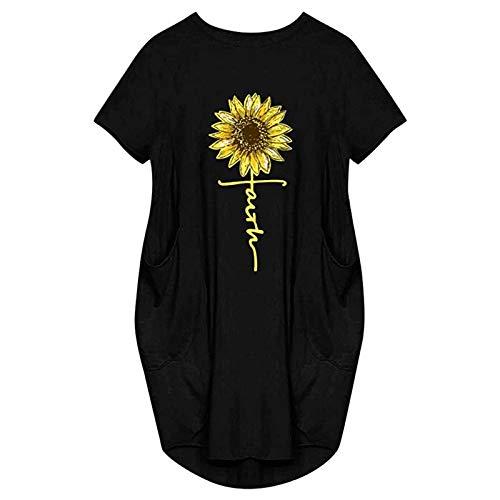 Kleider Sommerkleid Damen Kleid Lässiges mit Kurzen Ärmeln,Lässiges Kleid mit Losen Sonnenblumenmotiven Knielang Kleid Sommer Kleider T-Shirt Tunika Kurzarm Freizeitkleid